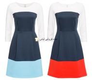 لباس زنانه با رنگ بلوک 2 رنگ لباس